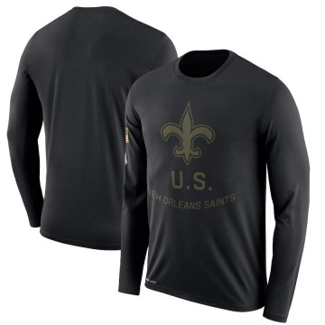 Men's Nike New Orleans Saints Black 2018 Salute to Service Sideline Performance Long Sleeve T-Shirt - Legend