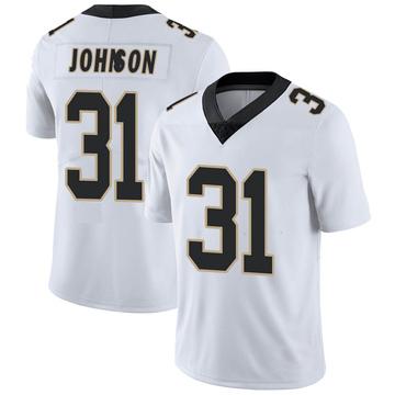 Men's Nike New Orleans Saints Chris Johnson White Vapor Untouchable Jersey - Limited