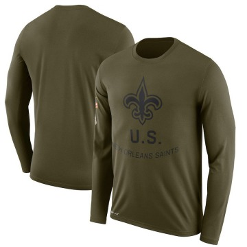Men's Nike New Orleans Saints Olive 2018 Salute to Service Sideline Performance Long Sleeve T-Shirt - Legend