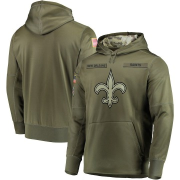 Men's Nike New Orleans Saints Olive 2018 Salute to Service Sideline Therma Performance Pullover Hoodie -
