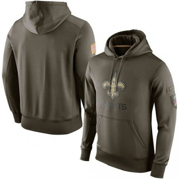 Men's Nike New Orleans Saints Olive Salute To Service KO Performance Hoodie -