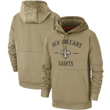 Men's Nike New Orleans Saints Tan 2019 Salute to Service Sideline Therma Pullover Hoodie -