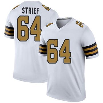 Men's New Orleans Saints Zach Strief White Color Rush Jersey - Legend