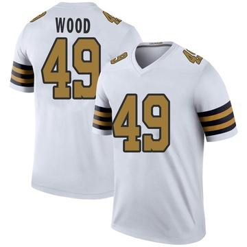 Men's New Orleans Saints Zach Wood White Color Rush Jersey - Legend