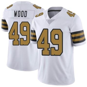 Men's New Orleans Saints Zach Wood White Color Rush Jersey - Limited
