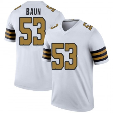 Men's New Orleans Saints Zack Baun White Color Rush Jersey - Legend