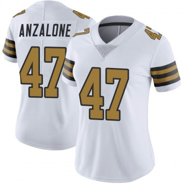 Women's Nike New Orleans Saints Alex Anzalone White Color Rush Jersey - Limited