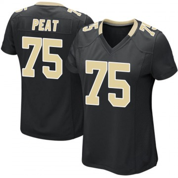 Women's Nike New Orleans Saints Andrus Peat Black Team Color Jersey - Game