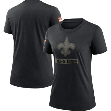 Women's Nike New Orleans Saints Black 2020 Salute To Service Performance T-Shirt -