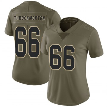 Women's Nike New Orleans Saints Calvin Throckmorton Green 2017 Salute to Service Jersey - Limited