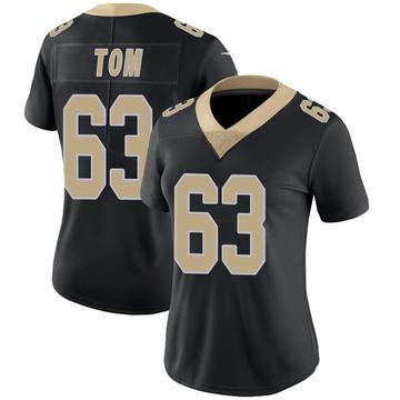 Women's Nike New Orleans Saints Cameron Tom Black Team Color 100th Vapor Untouchable Jersey - Limited