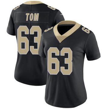 Women's Nike New Orleans Saints Cameron Tom Black Team Color Vapor Untouchable Jersey - Limited