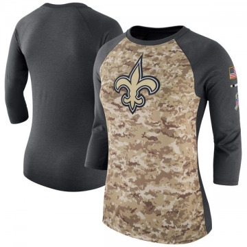 Women's Nike New Orleans Saints Camo /Charcoal Salute to Service 2017 Three-Quarter Raglan Sleeve T-Shirt - Legend