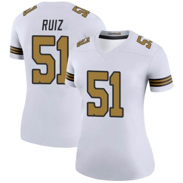 Women's Nike New Orleans Saints Cesar Ruiz White Color Rush Jersey - Legend