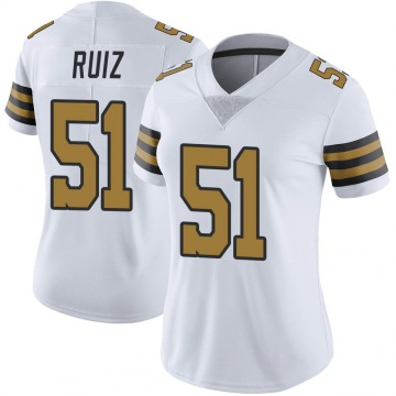 Women's Nike New Orleans Saints Cesar Ruiz White Color Rush Jersey - Limited