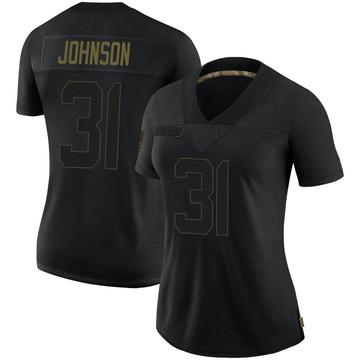 Women's Nike New Orleans Saints Chris Johnson Black 2020 Salute To Service Jersey - Limited
