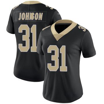 Women's Nike New Orleans Saints Chris Johnson Black Team Color 100th Vapor Untouchable Jersey - Limited