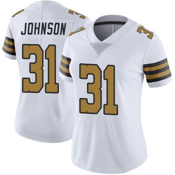 Women's Nike New Orleans Saints Chris Johnson White Color Rush Jersey - Limited