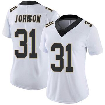 Women's Nike New Orleans Saints Chris Johnson White Vapor Untouchable Jersey - Limited