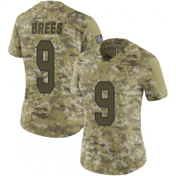 Women's Nike New Orleans Saints Drew Brees Camo 2018 Salute to Service Jersey - Limited
