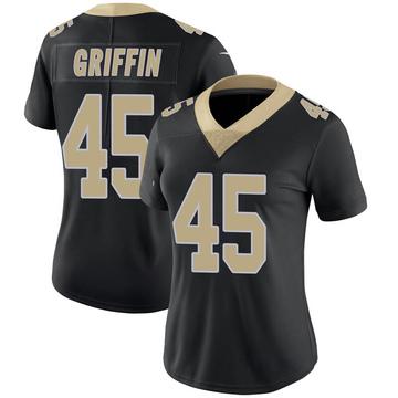 Women's Nike New Orleans Saints Garrett Griffin Black Team Color 100th Vapor Untouchable Jersey - Limited