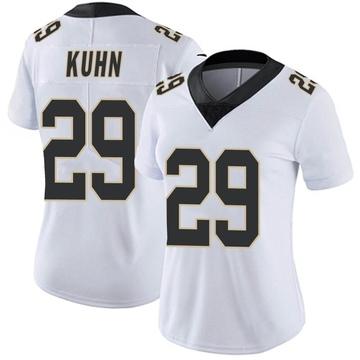 Women's Nike New Orleans Saints John Kuhn White Vapor Untouchable Jersey - Limited