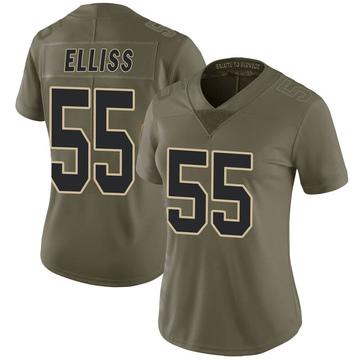 Women's Nike New Orleans Saints Kaden Elliss Green 2017 Salute to Service Jersey - Limited