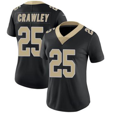 Women's Nike New Orleans Saints Ken Crawley Black Team Color 100th Vapor Untouchable Jersey - Limited