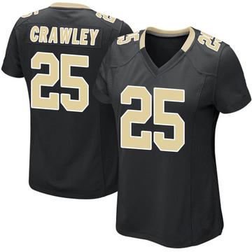 Women's Nike New Orleans Saints Ken Crawley Black Team Color Jersey - Game