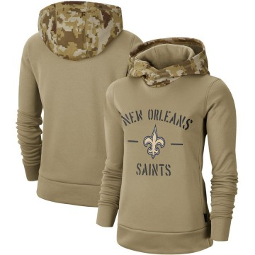 Women's Nike New Orleans Saints Khaki 2019 Salute to Service Therma Pullover Hoodie -