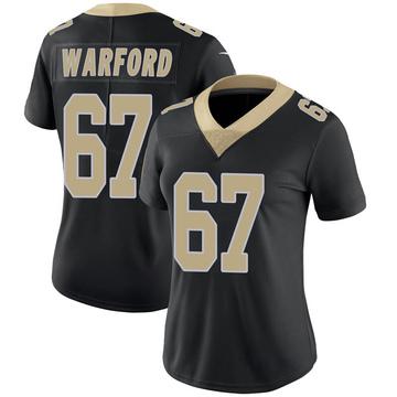 Women's Nike New Orleans Saints Larry Warford Black Team Color 100th Vapor Untouchable Jersey - Limited