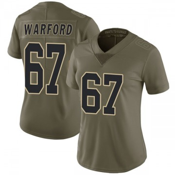 Women's Nike New Orleans Saints Larry Warford Green 2017 Salute to Service Jersey - Limited