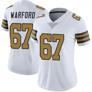 Women's Nike New Orleans Saints Larry Warford White Color Rush Jersey - Limited