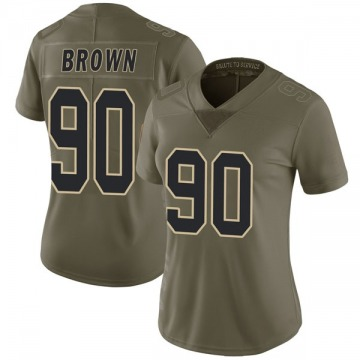 Women's Nike New Orleans Saints Malcom Brown Green 2017 Salute to Service Jersey - Limited