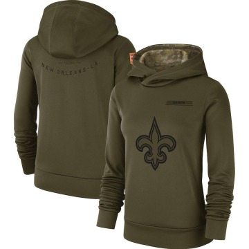 Women's Nike New Orleans Saints Olive 2018 Salute to Service Team Logo Performance Pullover Hoodie -
