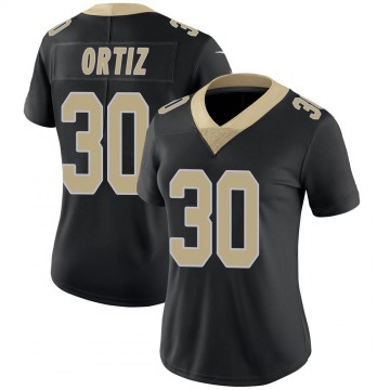Women's Nike New Orleans Saints Ricky Ortiz Black Team Color 100th Vapor Untouchable Jersey - Limited