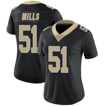 Women's Nike New Orleans Saints Sam Mills Black Team Color Vapor Untouchable Jersey - Limited