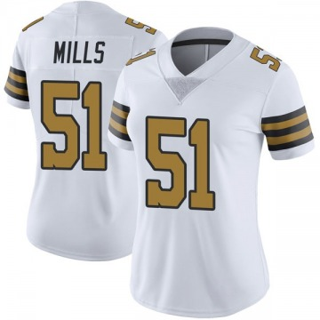 Women's Nike New Orleans Saints Sam Mills White Color Rush Jersey - Limited