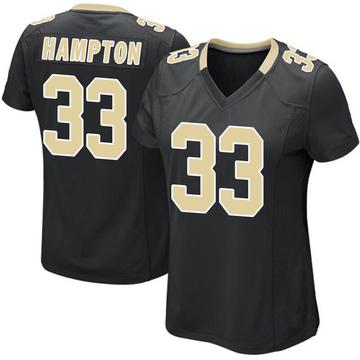 Women's Nike New Orleans Saints Saquan Hampton Black Team Color Jersey - Game