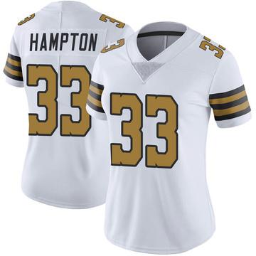 Women's Nike New Orleans Saints Saquan Hampton White Color Rush Jersey - Limited