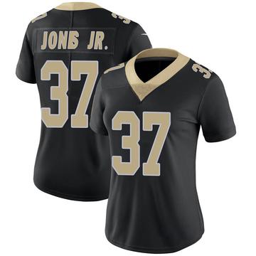 Women's Nike New Orleans Saints Tony Jones Jr. Black Team Color Vapor Untouchable Jersey - Limited