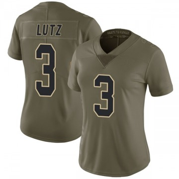 Women's Nike New Orleans Saints Wil Lutz Green 2017 Salute to Service Jersey - Limited