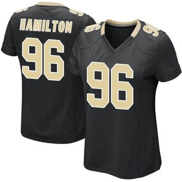 Women's Nike New Orleans Saints Woodrow Hamilton Black Team Color Jersey - Game