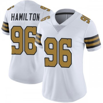 Women's Nike New Orleans Saints Woodrow Hamilton White Color Rush Jersey - Limited