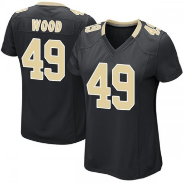 Women's Nike New Orleans Saints Zach Wood Black Team Color Jersey - Game