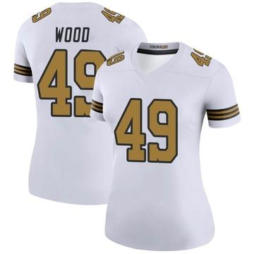 Women's Nike New Orleans Saints Zach Wood White Color Rush Jersey - Legend