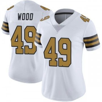 Women's Nike New Orleans Saints Zach Wood White Color Rush Jersey - Limited