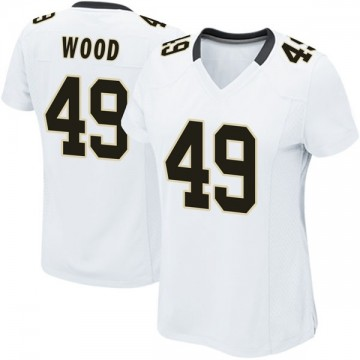 Women's Nike New Orleans Saints Zach Wood White Jersey - Game