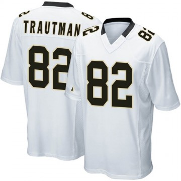 Youth Nike New Orleans Saints Adam Trautman White Jersey - Game