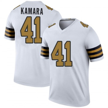 Youth Nike New Orleans Saints Alvin Kamara White Color Rush Jersey - Legend